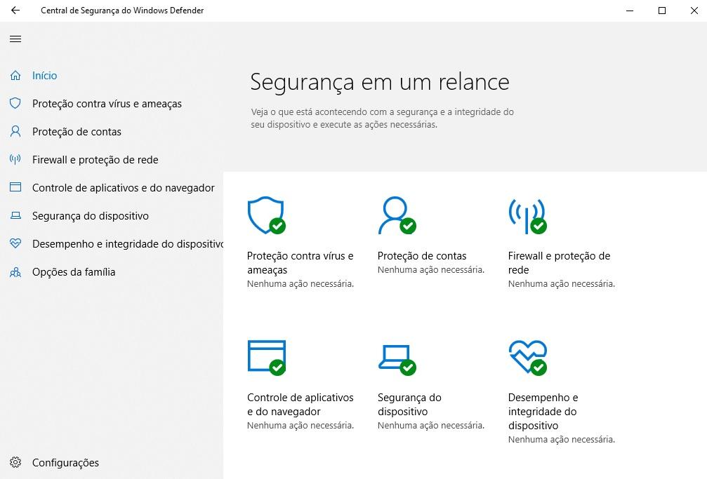 Imagem mostra a tela principal do Antivírus Windows Defender