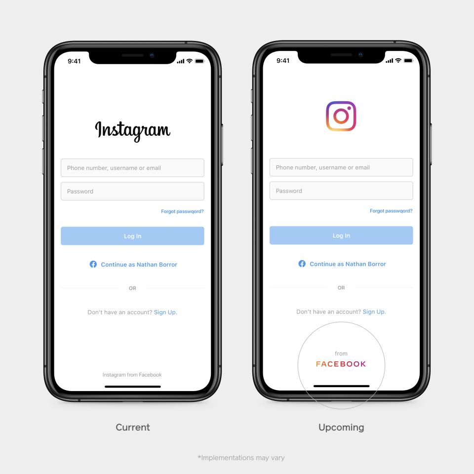 Facebook atualiza logomarca para diferenciar a empresa do aplicativo